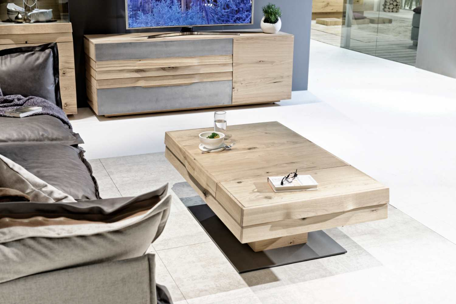 Table de salon design en bois convertible organo au design allemand - Table de chevet contemporaine design ...