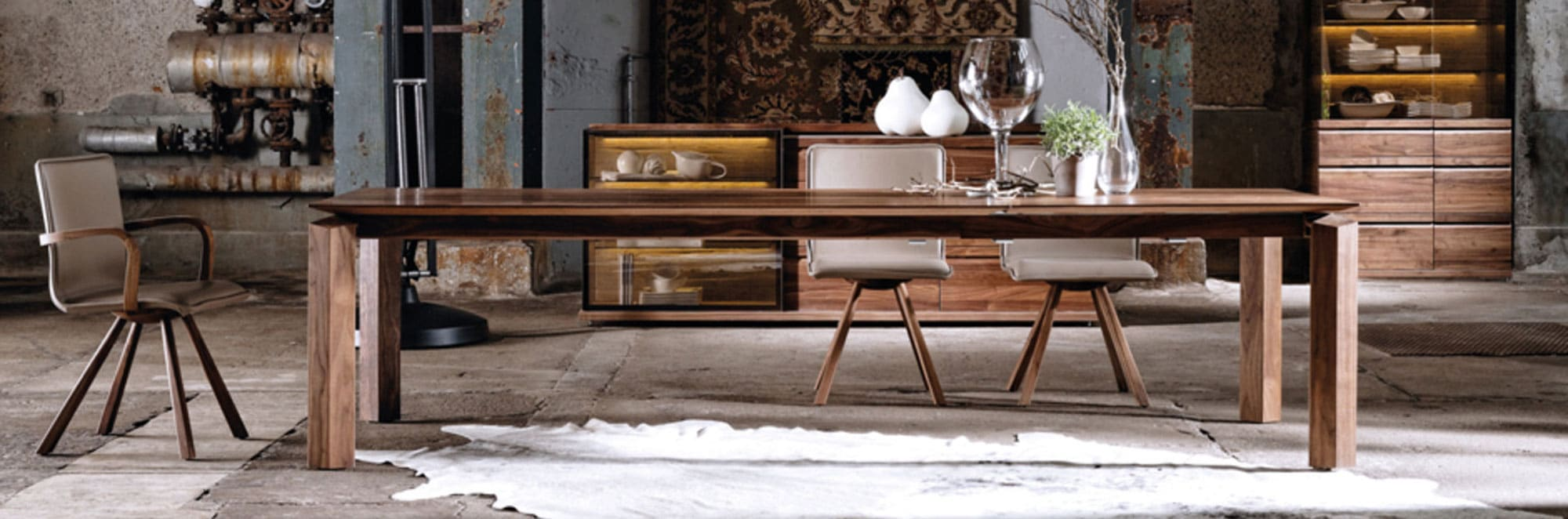 Table de repas noyer design loft
